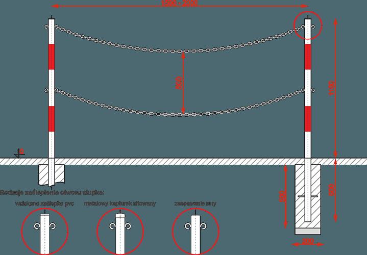 Bariera typ Ł łańcuchowa 2-rzędowa
